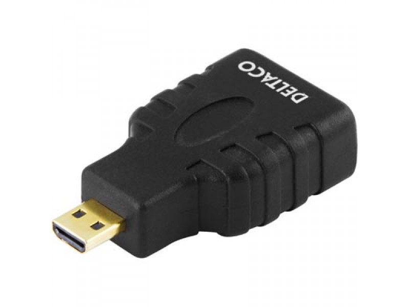 Deltaco micro HDMI - HDMI High Speed with Ethernet -adapteri