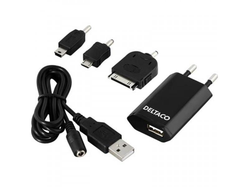Deltaco USB-verkkolaturi + adapterit