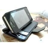 Wallet Stand-suojakotelo iPhone 4 ja 4S (musta)