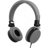STREETZ headset, Android/iPhone stereokuulokeliitäntä 3,5mm, kokoontaitettava, mikrofoni, vastauspainike, 32 Ohm, 1,5m kaapeli, harmaa