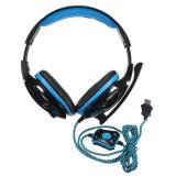 Pelikuulokkeet 7.1 mikrofonilla, USB-liitäntä, Sininen